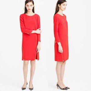 J. Crew Double-Zip Long Sleeve Shift Dress Red 8